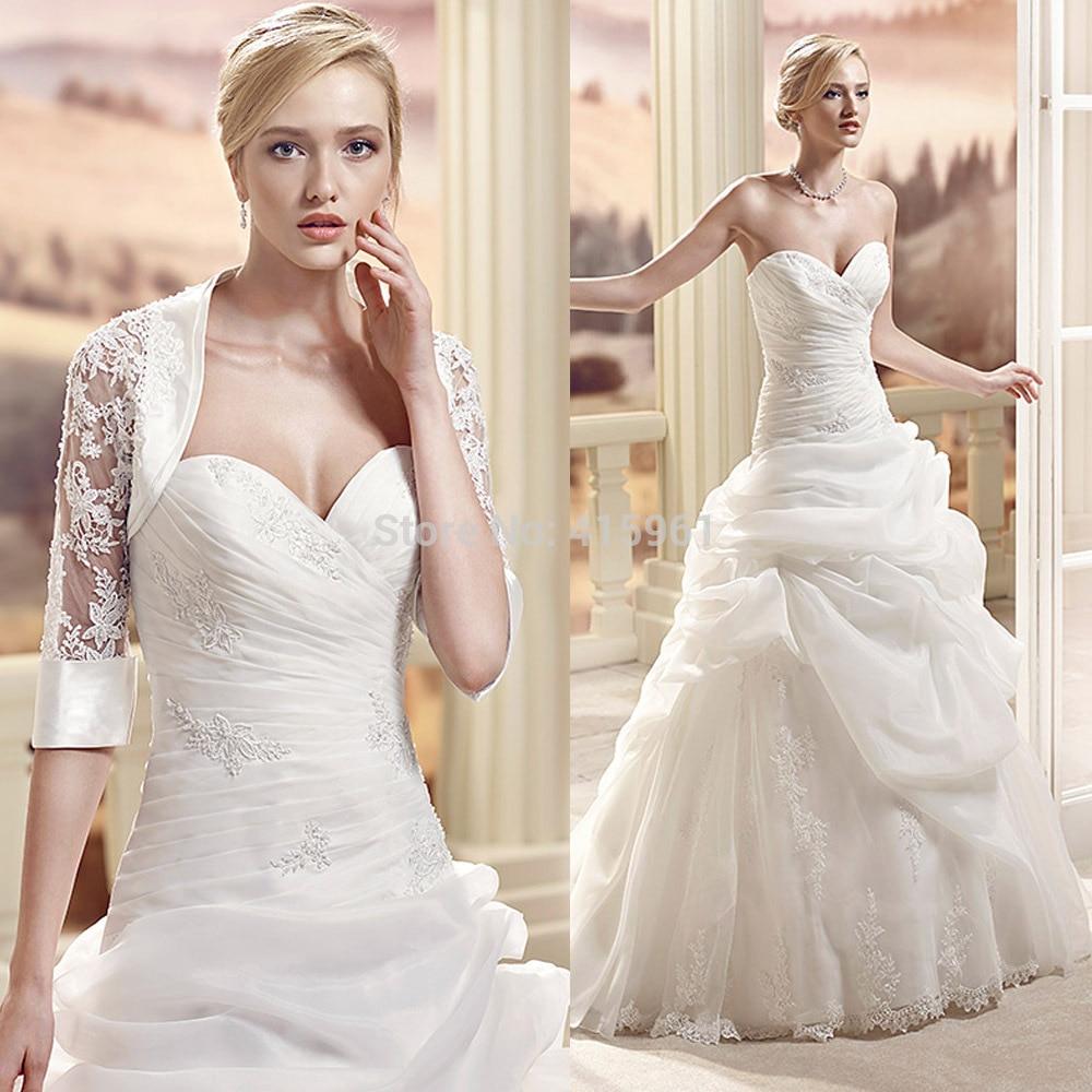 2019 New Arrival Robe De Mariee Wedding Dress A Line Lace Bridal Gowns With Jacket Sweetheart Pleat Pick-ups Vestido De Noiva