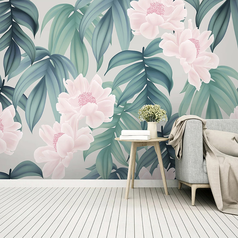 Modern 3D Wallpaper Tropical Rainforest Banana Leaf Flowers Photo Wall Murals Living Room TV Sofa Background Wall Papers For 3 D
