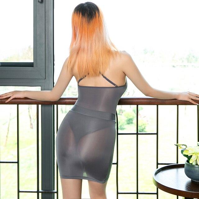 Smooth Sexy Bodycon Ice Silk Secretary Fancy Bodysuit See Through Leotard Mini Skirt Sets Nightclub Party Transparent Costume 3