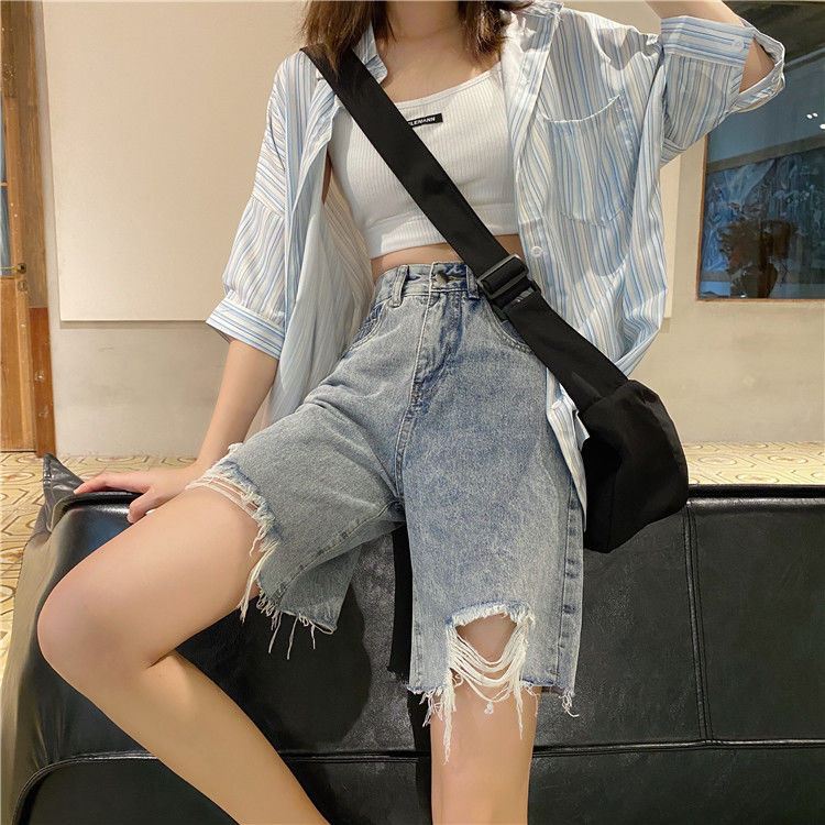 Summer Woman's Jeans Black Denim Pants Skinny Capris Jeans Woman Female Stretch Knee Length Denim Shorts Women High Waist Pants