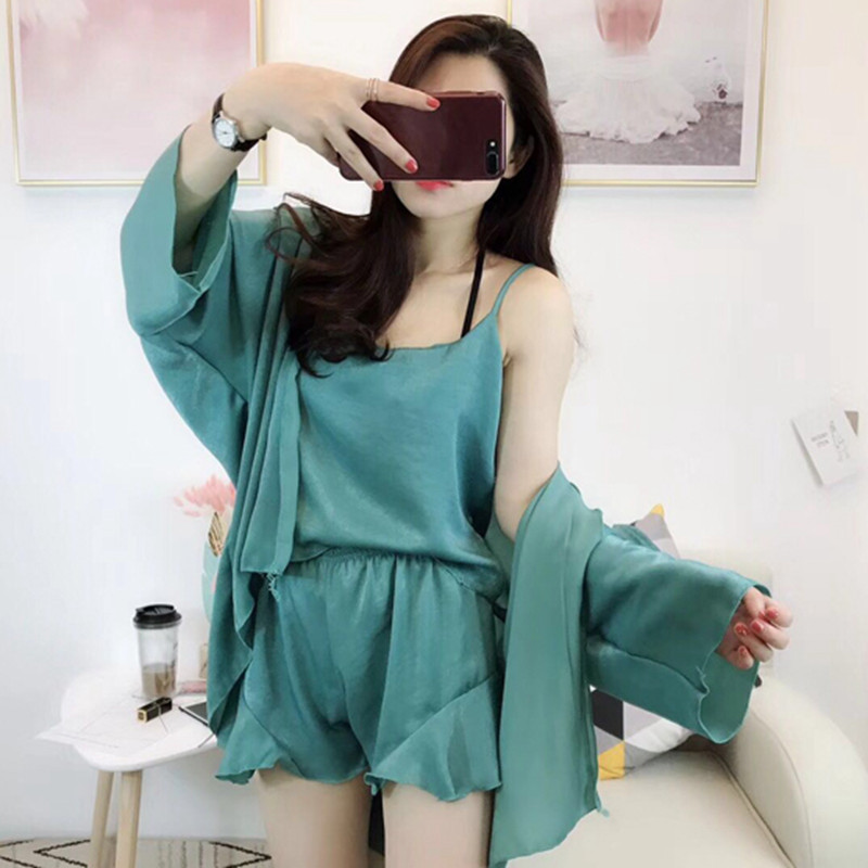 Today Will Grab Send Sell Blood Seckilling Four-piece Set INS Sweet And Sexy Spaghetti Strap Pajamas Tracksuit