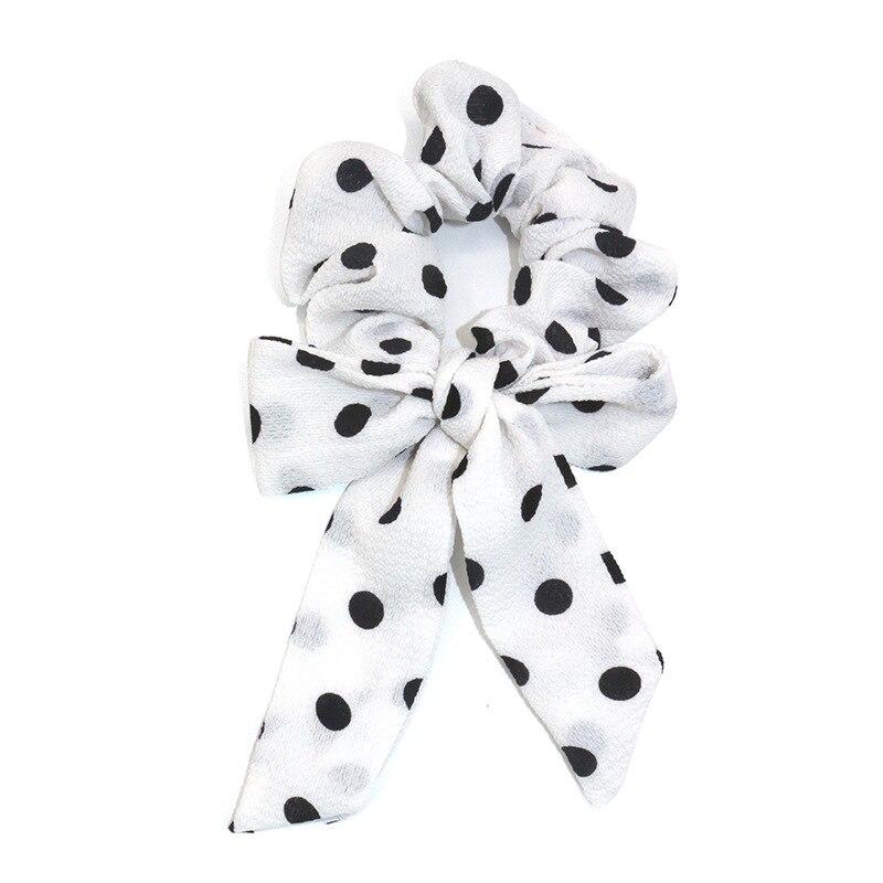 Femmes banderoles chouchous à pois imprimé Floral élastique noeud cheveux corde fille cheveux cravates coréen doux cheveux accessoires chapeaux 8
