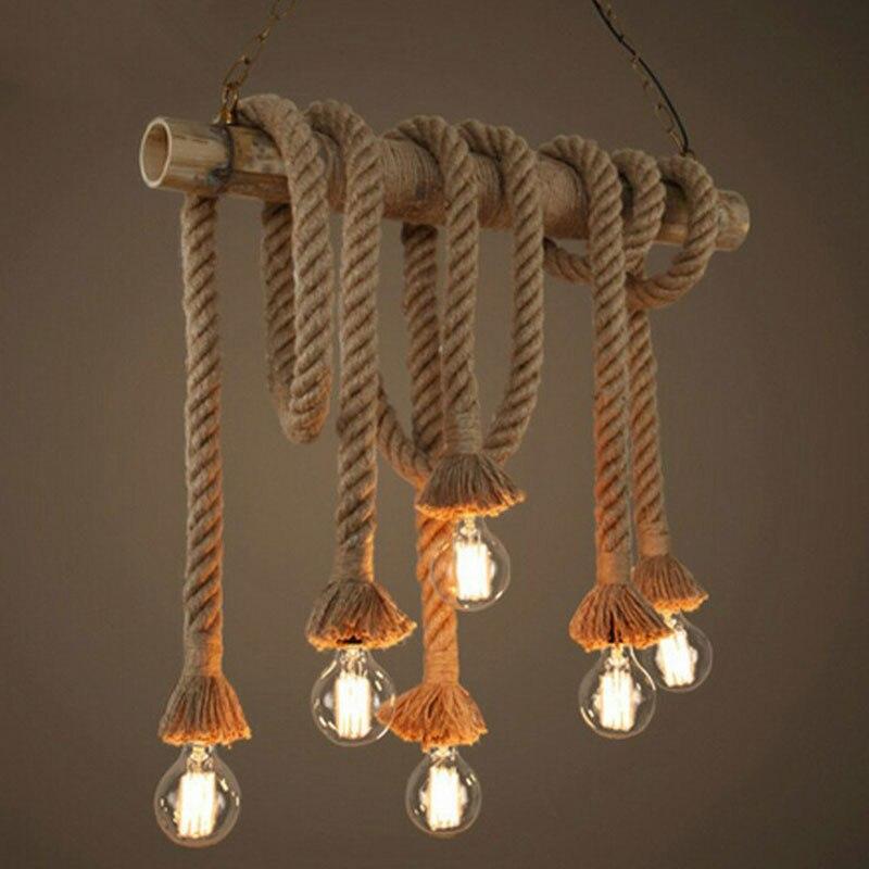 Corde de chanvre suspension lumières Vintage rétro Loft industriel suspension lampe pour salon cuisine maison luminaires décor Luminaire