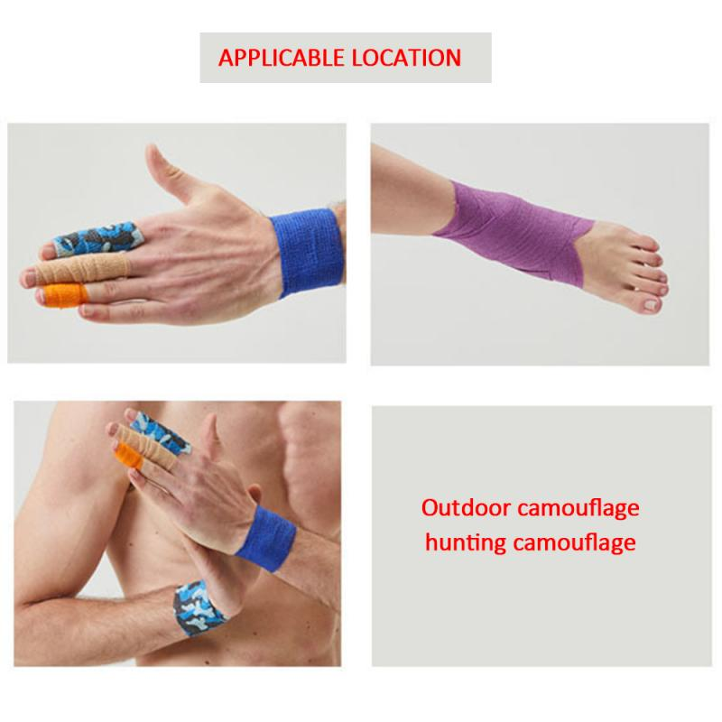 2.5CM*4.5M Outdoor Camouflage Non-woven Multi-functional Bandage Self-adhesive Elastic Bandage First Aid Tool Waterproof