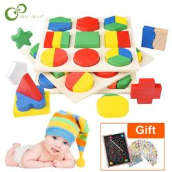 Wooden Geometric Shapes Montessori Puzzle Sorting Math Bricks Learning Educational Game Baby Toddler Toys for Children GYH