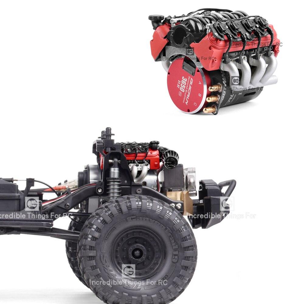 คลาสสิก V8 LS7 จำลองเครื่องยนต์มอเตอร์พัดลมหม้อน้ำสำหรับ 1/10 RC Crawler รถ Traxxas TRX4 TRX6 G500 SCX10 Rc4wd D90 VS4 อัพเกรด
