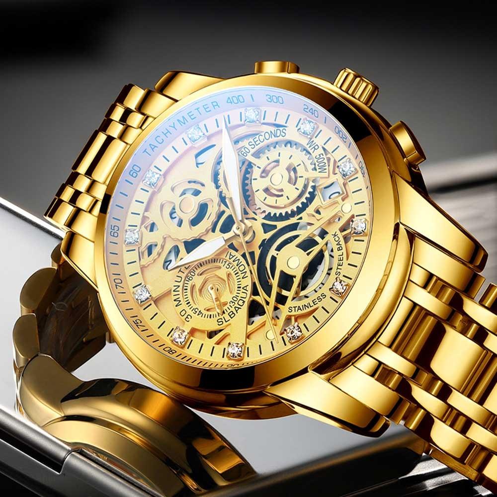 2021 NEKTOM Fashion Casual Men Watch Stainless Steel Golden Men Wristwatch Luxury Business Watch Relogio Masculio Gift for Men 2