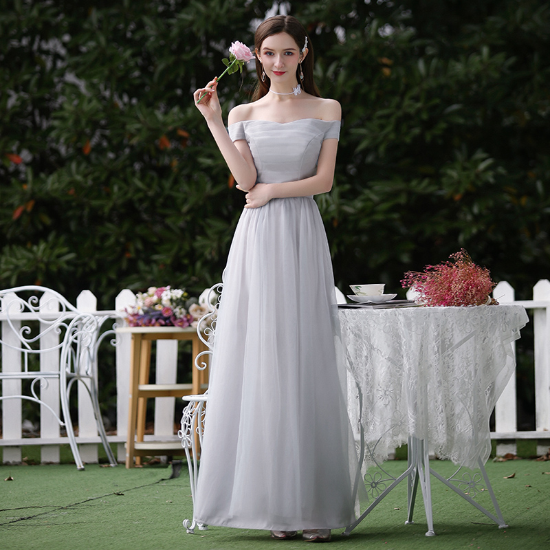 Gray Tulle Burgundy Bridesmaid Dress Elegant A-Line Long Dress For Wedding Party For Woman Wedding Guest Dress Sexy Prom Vestido