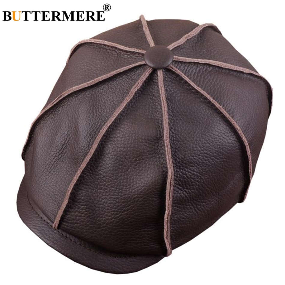 BUTTERMERE Men Newsboy Cap Genuine Leather Winter Octagonal Cap For Men Brown Black Real Leather Retro Male Ivy Flat Hat