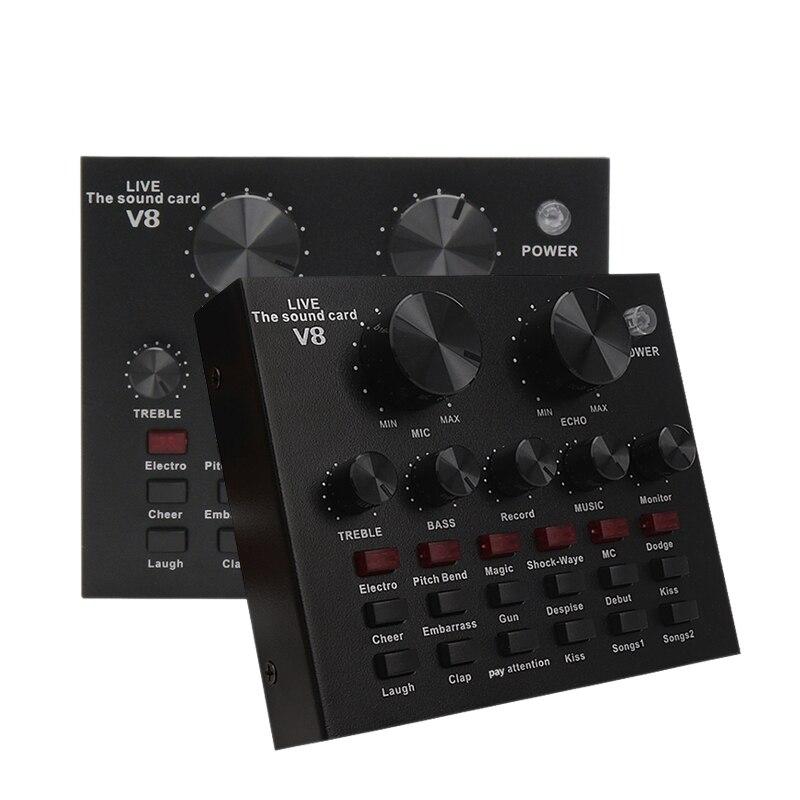 Conjunto de Placa de Som Interface de Microfone de Áudio Função de Placa de Som Bluetooth para Computador Externa Celular Singin v8 Usb pc
