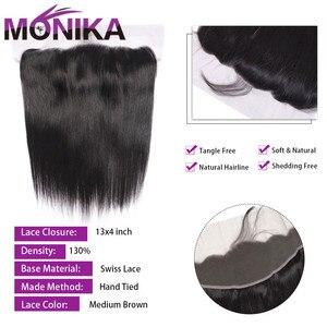 Image 4 - Monika cheveux malaisie paquets de cheveux raides avec Frontal 28 pouces cheveux humains frontaux avec faisceaux non remy cheveux frontaux et faisceaux