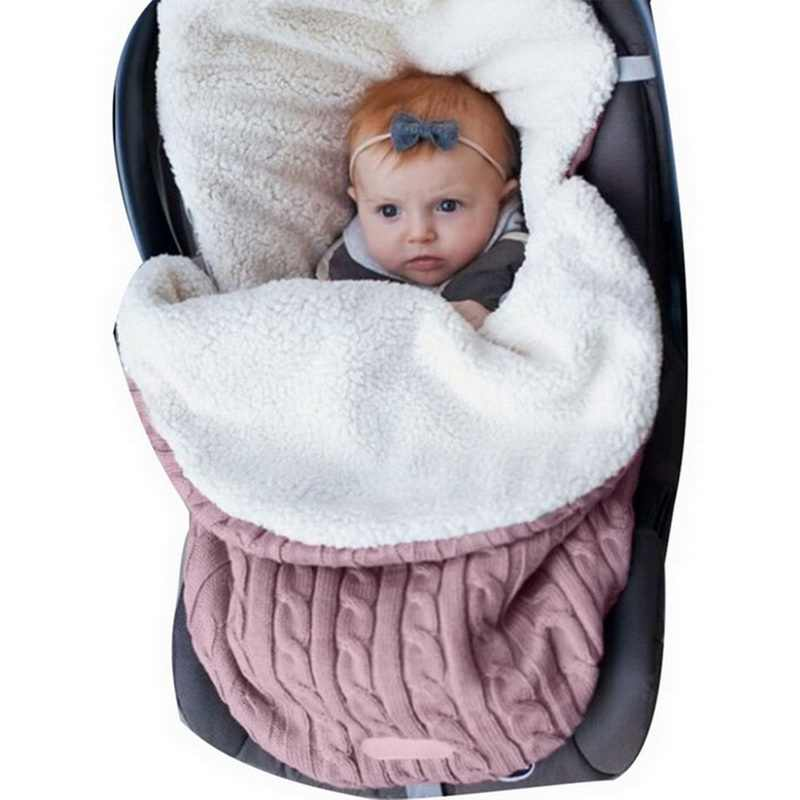 Baby Schlafsack Umschlag 2019 Winter Kid Schlafsäcke Fußsack Kinderwagen Gestrickte Schlaf Sack Neugeborenen Swaddle Stricken Wolle Slaapzak