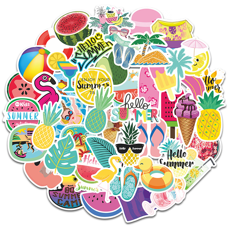 Details about  /50 PCS Summer Style Sticker Travel Sunlight Beach Vsco Girl Cute Anime Stickers