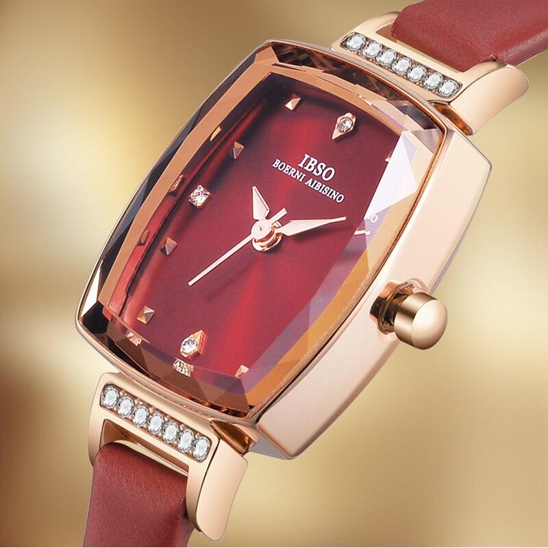 IBSO Luxury Women Watches Fashion Rectangle Watches Women Genuine Leather Quartz Wristwatches Women Cut Glass Montre Femme