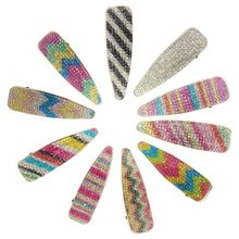 Korean Women Water Drop Hair Clips Rainbow Stripes Leopard Colorful Duckbill Hairgrip Faux Crystal Rhinestone Jewelry Barrettes стоимость