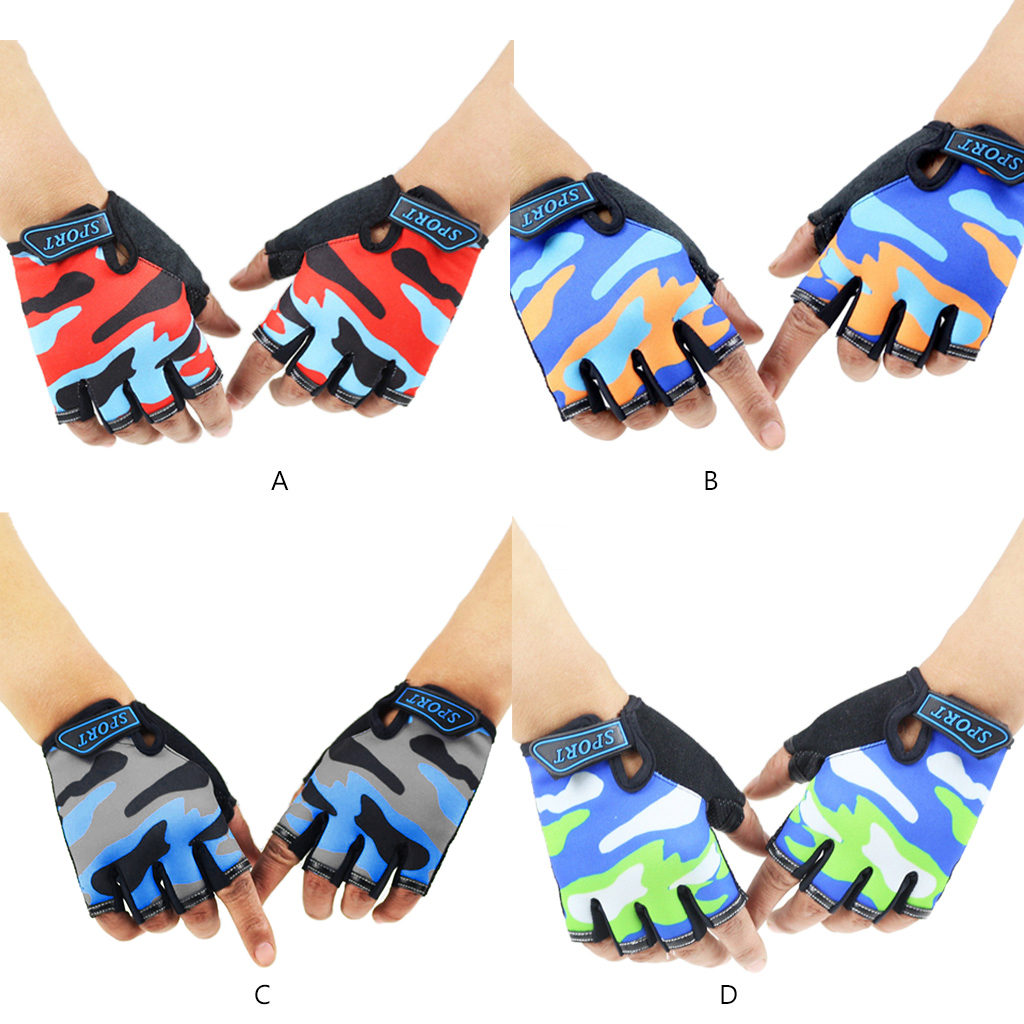 Child Kids Camouflage Non-Slip Half Finger Cycling Gloves Breathable Fingerless Short Outdoor Sports Riding Wrist Length Mittens