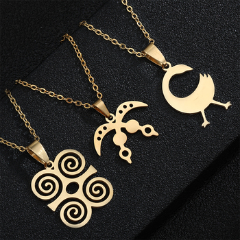 African Symbol Pendant Necklaces Stainless steel Akofena Dwennimmen Adinkra Sankofa Symbols Ghanaian Ethnic Jewelry Gifts image