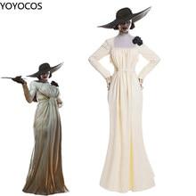 YOYOCOS Lady Dimitrescu Cosplay Costume Alcina Dimitrescu Women Yellow Comfort Soft Dress Evil Village Cosplay Halloween Party