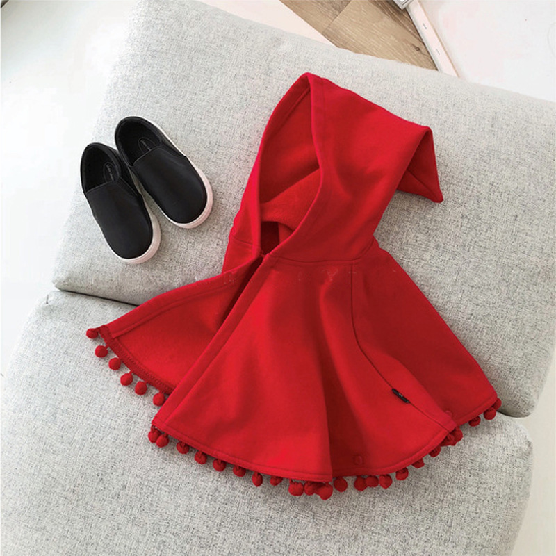 2021 New Fashion Baby Girl Winter Clothes Red Hooded Cape Cloak Baby Clothes Boy Infant Hooded Cape Baby Girl Winter Clothes 4