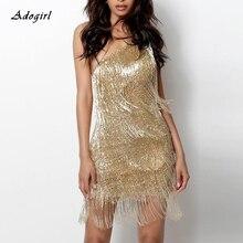 Sexy Gold Gatsby dress Women Elegant Tassel One Shoulder Sleeveless Bodycon Mini