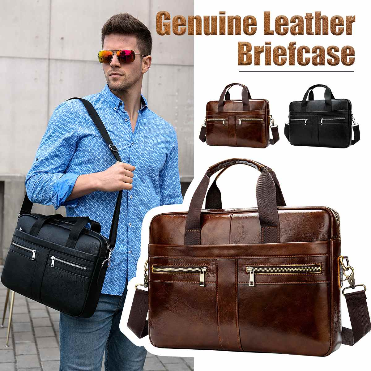 Osmond Men's Genuine Leather Briefcase Male Man Laptop Bag Natural Leather For Men Messenger Bags Men's Briefcases 2019