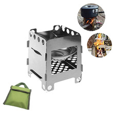 Outdoor Camping Wood Stove Foldable Stainless Steel Alcohol Cooking Folding Pocket Suitable For