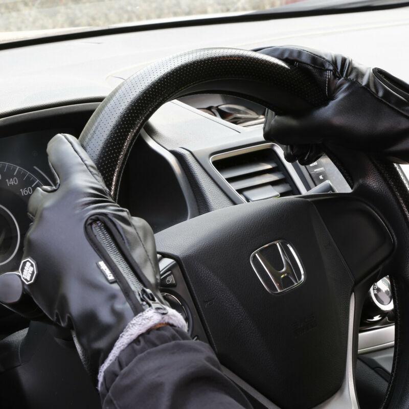 Fashion Leather Gloves Zip Touch Screen Winter Touch Screen Warm Fleece Lined Panel Lambskin Sheepskin Solid Black Cool Gloves