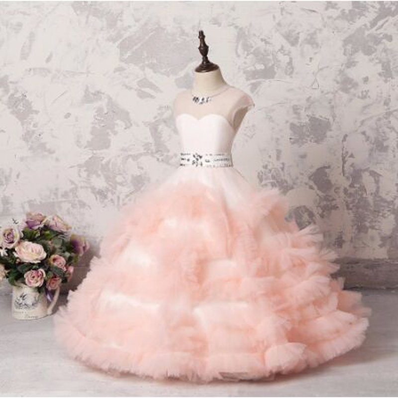 Cute Pleat Crystal Ruched Ruffles Cap Sleeve Ball Gown   Flower     Girl     Dresses   Vintage Short Sleeve O-neck Communion Gown sukienki