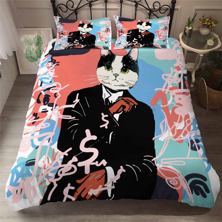 HELENGILI 3D Bedding Set Cartoon Cat Print Duvet Cover Set Bedcloth With Pillowcase Bed Set Home Textiles #YC-98