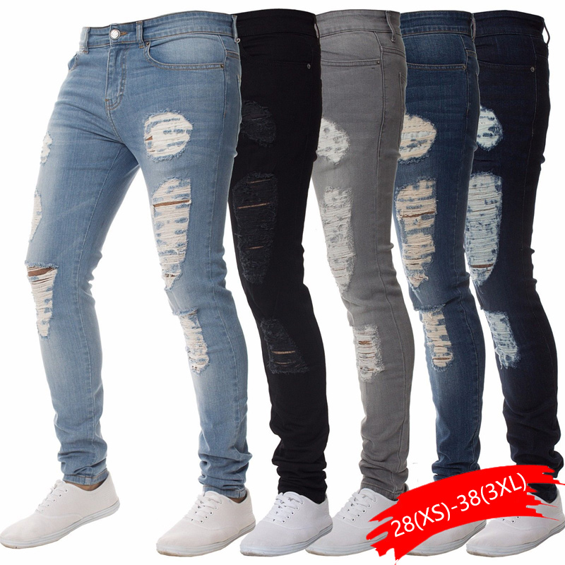 Men's Cotton Jean Vintage Hole Cool Trousers For Guys Summer Europe America Style Plus Size 3XL Casual Ripped Jeans Male