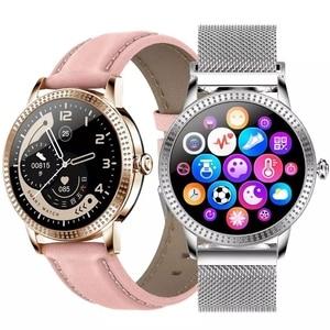 Image 1 - 여자 Smartwatch IP67 방수 시계 혈압 모니터 심장 박동 추적기 스마트 팔찌 삼성 Xiaomi 화웨이 CF18