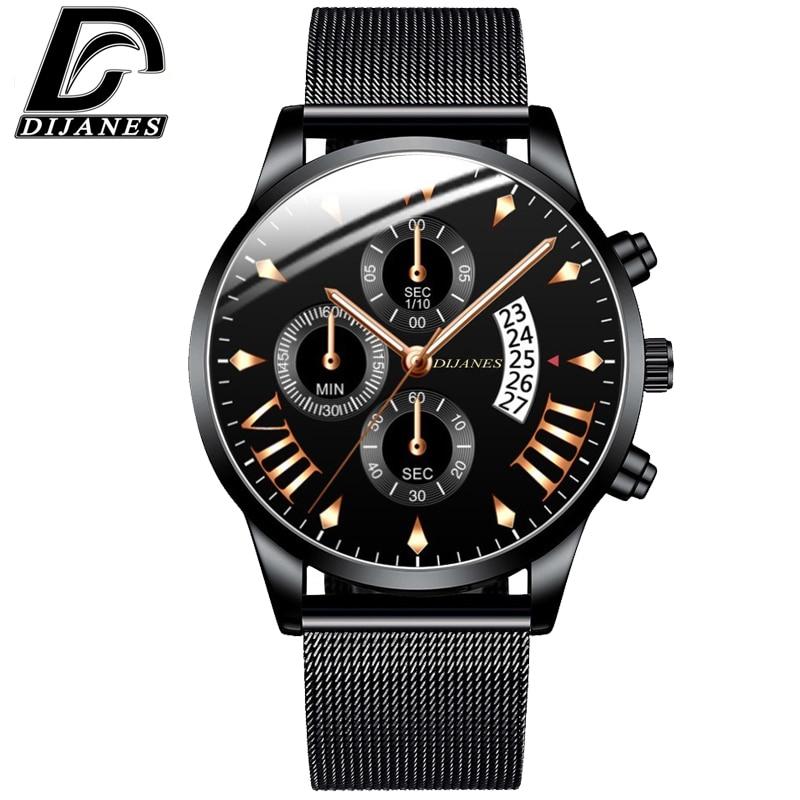 DIJANES Fashion Mens Luxury Business Watches Stainless Steel Mesh Belt Quartz Wrist Watch Men Casual Classic Clock Reloj Hombre