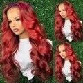 Красный парик с эффектом омбре 13X4 на сетке спереди, плотность 180%, волнистые человеческие волосы, парики для женщин, бразильские волосы без п...