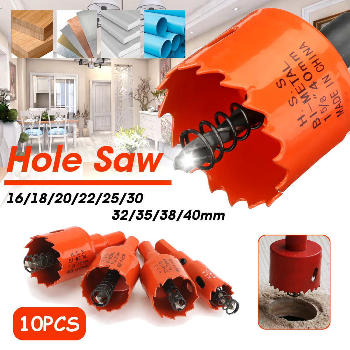 16-200mm HSS Bi-Metal Wood Hole Saw Cutter Tooth Cutter Drill Bit For Woodworking DIY Wood Cutter Drill Bit Set PVC Plastic