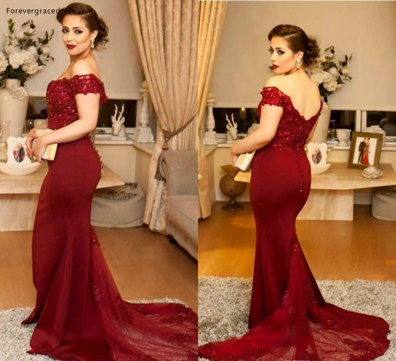 2019 Cheap Burgundy   Evening     Dress   Mermaid Off Shoulder Long Backless Formal Holidays Wear Graduation Party Gown Custom Made