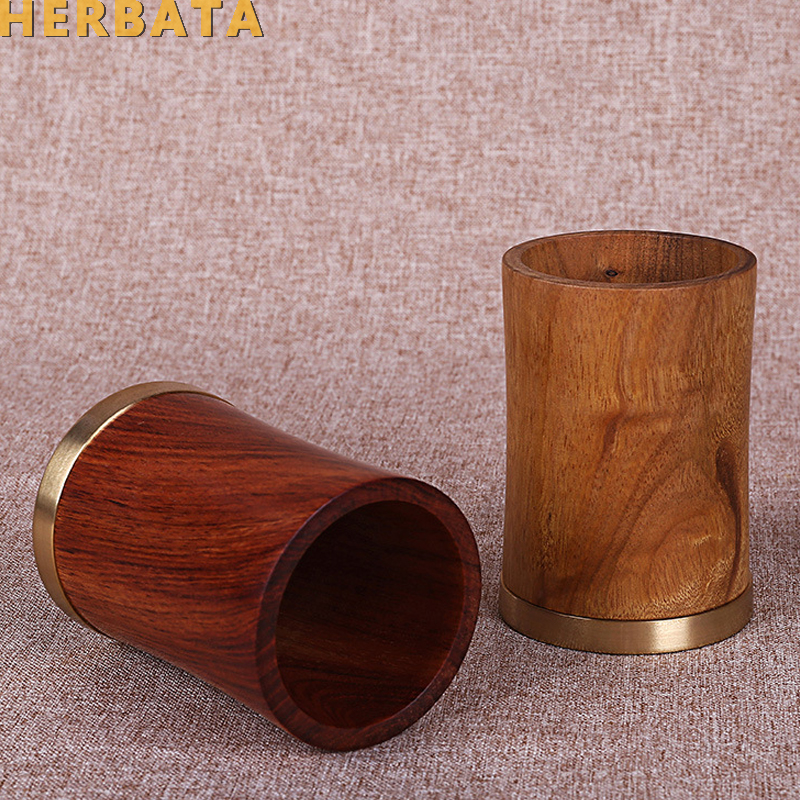 Vintage Wooden Pen Holder Set Crafts Office Supplies Bamboo Pencil Container Organizer Pen Stand Brush Pot Lapicero Escritorio