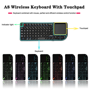 Image 4 - A8 Russian Spanish English Air Fly Mouse White Color Backlit Mini Wireless Keyboard Handheld Touchpad For Projector TV PC