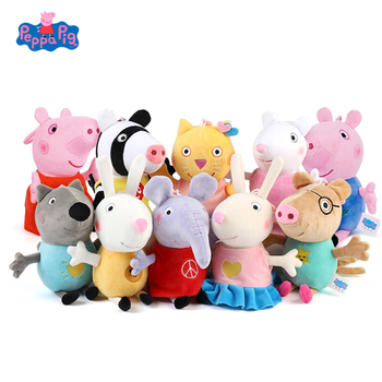 Original 19cm Peppa Pig George Pig Friends Cartoon Animal Stuffed Plush Toys Pink Pig Dolls Family Party Girl Toys Kid Xmas Gift недорого