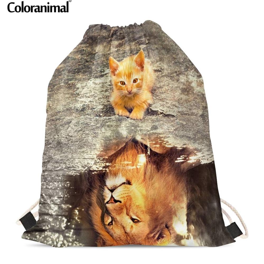 Coloranimal Cat Reflection Tiger/Lion Design Drawstring Bags Kids Gift Backpack For Boys Girls Soft Beach Bag Travel Bags