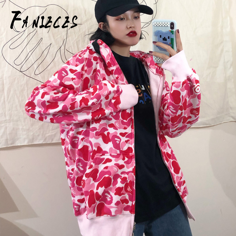 Female Pink Sweatshirts 2019 Autumn Winter Fashion Print Women's Hoodie Long Sleeve Zipper Hooded Casual Streetwear Outerwear