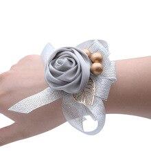 Искусственный запястье цветок подружка невесты браслет сестры рука цветы выпускной свадьба аксессуары подарки для гостей свадебный запястье корсаж