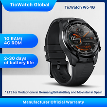 TicWatch Pro 4G/LTE 1GB RAM Sleep Tracking Swim-Ready IP68 Waterproof NFC Pay LTE for Vodaphone in DE/IT/UK &Movistar in Spain