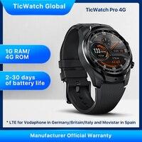 TicWatch Pro 4G/LTE EU Version 1GB RAM Sleep Tracking Swim-Ready IP68 NFC Pay LTE for Vodaphone in DE/IT/UK &Movistar in Spain