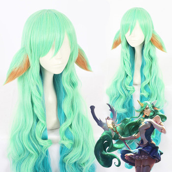 Game LOL women Soraka cosplay wig  Star Guardian green Cosplay Hair Wig and 2 ears 1