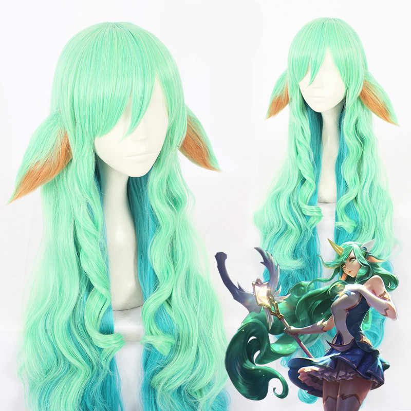 Game LOL women Soraka cosplay wig  Star Guardian green Cosplay Hair Wig and 2 ears