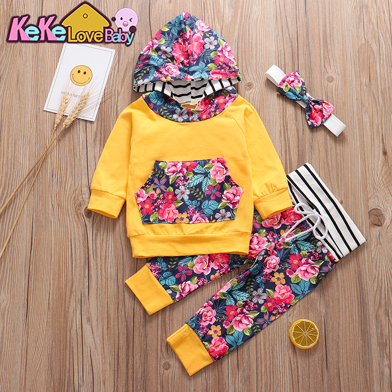 3Pcs Autumn Baby Girl Clothes Set Newborn Infant Outfit Fashion Hoodie Floral Pants Headband Pullover New Born Clothing Set Vest