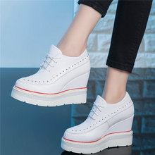 Lace Up Platform Pumps Shoes Women Genuine Leather Wedges High Heel Ankle Boots Female Round Toe Fashion Sneakers Casual Shoes punk trainers women cow leather wedges high heel platform pumps shoes female lace up tennis shoes embroider flowers casual shoes