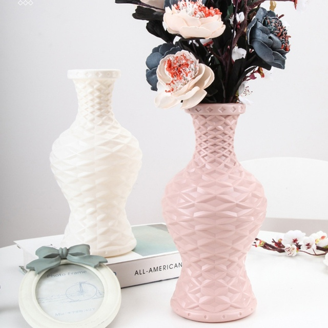 Nordic Origami Plastic Vase Imitation White Ceramic Flower Pot Flower Basket Flower Vase Decoration Home Desktop Decoration 2
