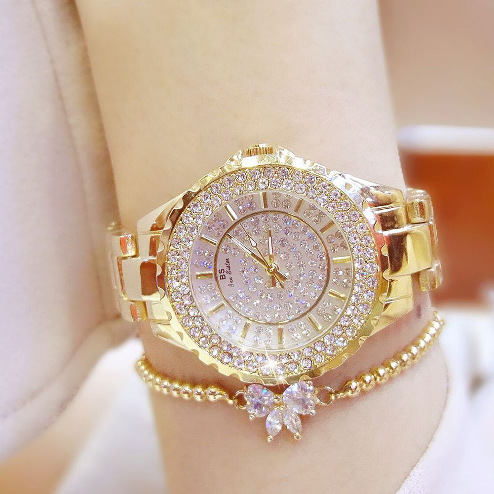 Top Grade Women's Chained List Full Of Crystals High Quality Ladies' Watch Without Bracelets