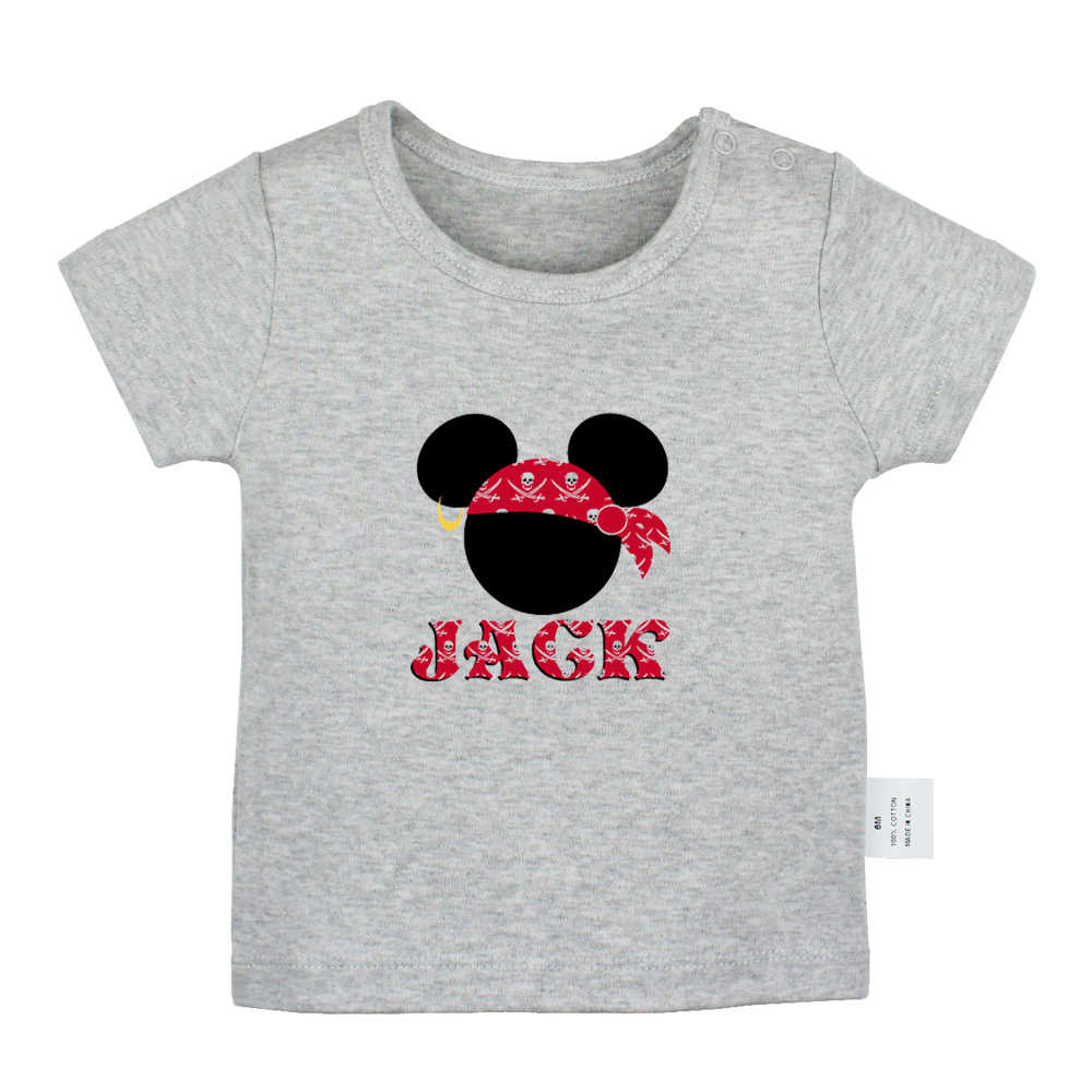 Mouse Captain Jack Cowboy Style tattoo Red Rose Skateboard Design Newborn Baby T-shirts Toddler Graphic Short sleeve Tee Tops